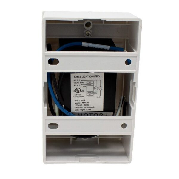 mw-201 ceiling fan wall control with on off light switch back view