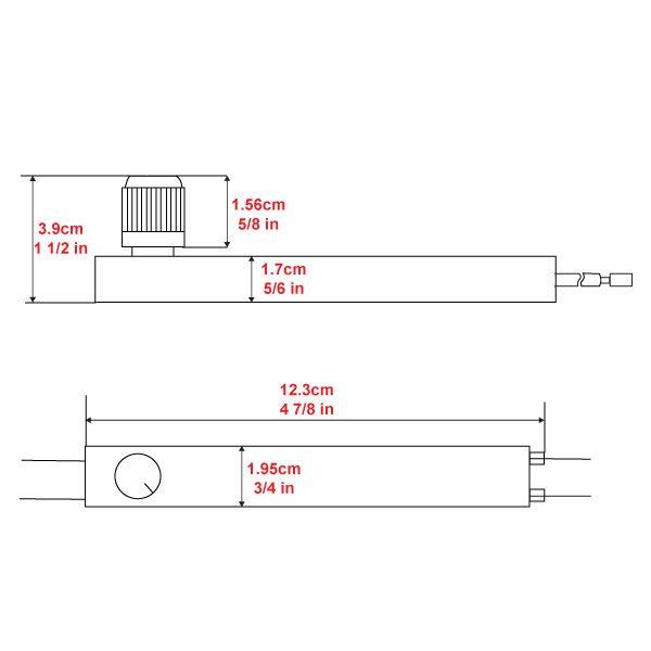 Zing Ear ZE-02 Dimmer Switch Dimensions