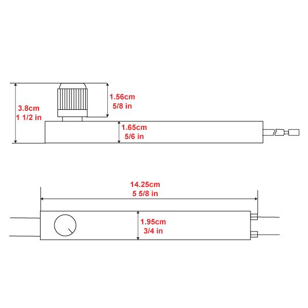 Zing Ear ZE-02s Dimmer Switch Dimensions