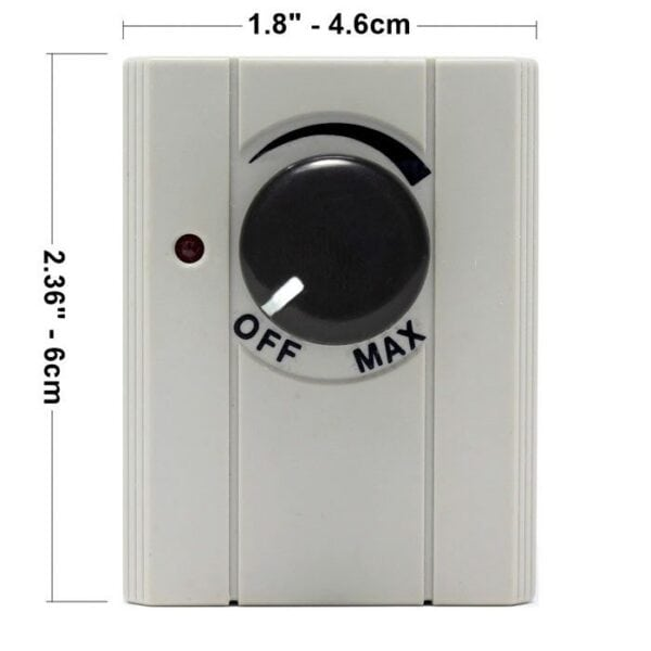 Zing Ear ZE-602 Plug-in Dimmer Switch - Dimensions